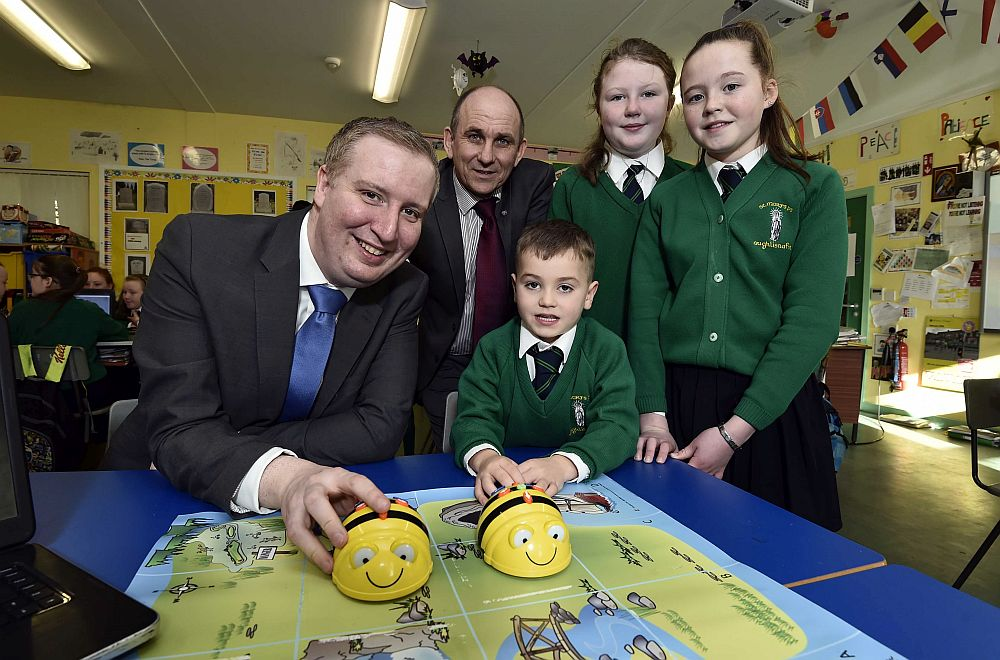 Barefoot St Marys Aghlisnafin BT Garret Kavanagh and Principal Mr Hardy plus pupils