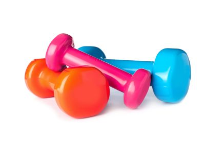 Color Dumbbells On White Background. Home Fitness