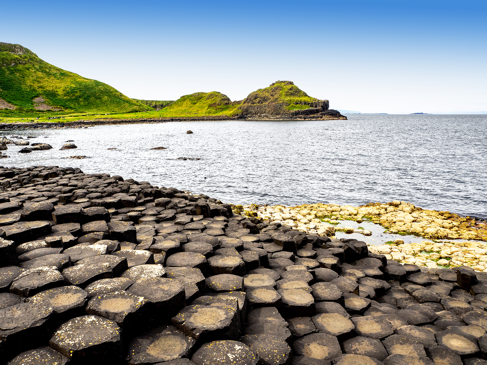 Giants Causeway With Cliffs And Barnacles